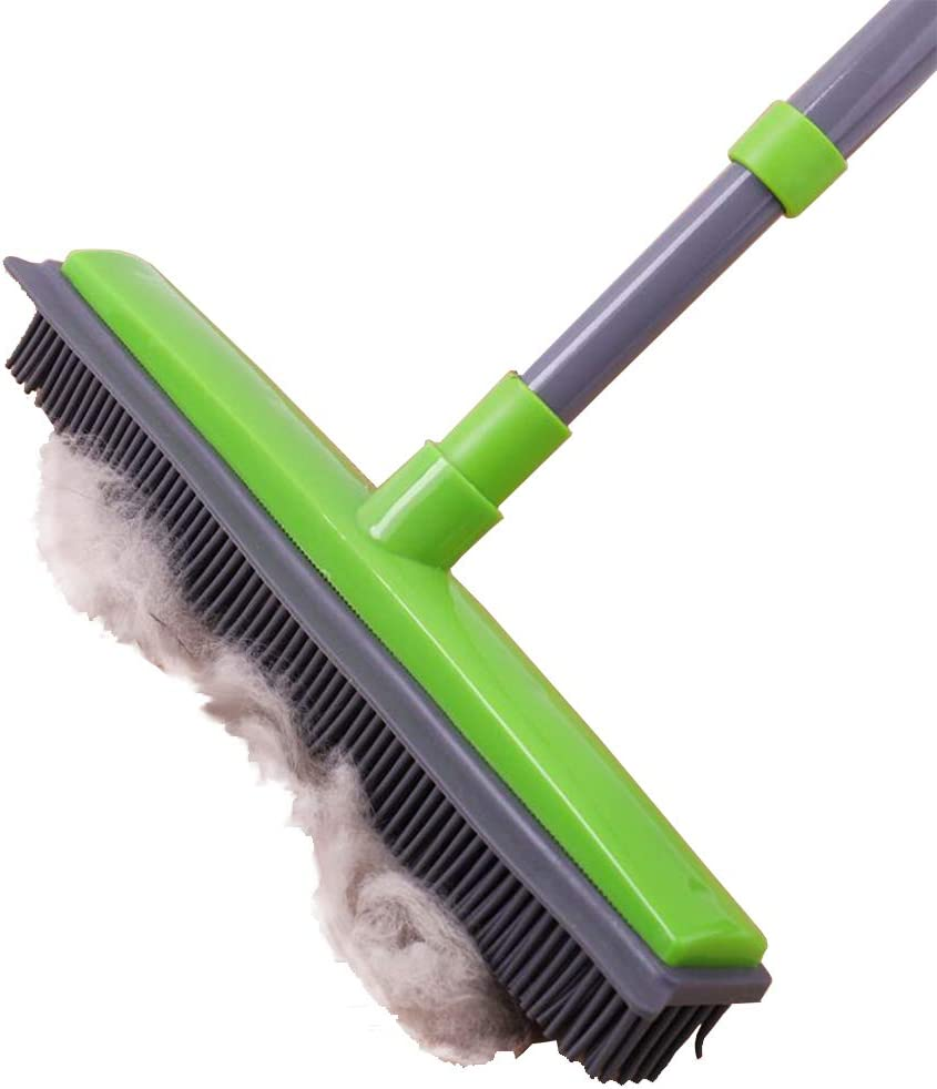 Pet Hair Removal Broom with Squeegee,Soft Push Broom Bristle 59'' Rubber Broom Carpet Sweeper with Squeegee Adjustable Long Handle, Removal Pet Human Hair, Green
