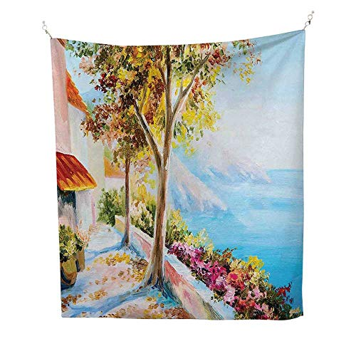 trySummer House Sea Mountain Terrace Trees and Flower Bed in Autumn 60W x 80L inch Quote tapestryPale Blue Pink and Green ()
