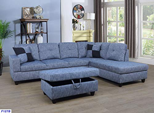 Beverly Fine Furniture SH127B Right Facing Linen Russes Sectional Sofa Set with Ottoman, Grey