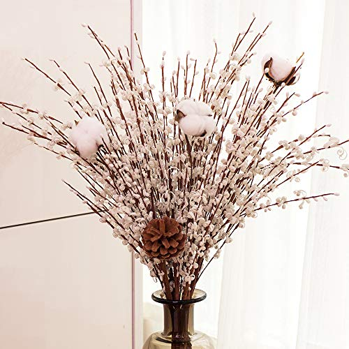 - YUYAO 12 Pcs Artificial Jasmine Flowers Fake Long Flower Branches Dry Flowers for Wedding Home Office Party Decoration (White)
