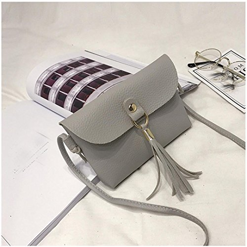 Fashion Shoulder Messenger Bag Small Clearance Handbag Gray Brown Shoulder Shoulder Crossbody Vintage Leather Bags Bags Tassel Seaintheson Mini Purse Bag wpIrq1p