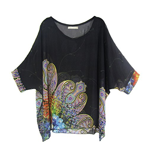 Cocobla Women Boat Neck Loose Dolman Sleeve Tops Bohemian Chiffon Blouse T Shirt (L, Black)