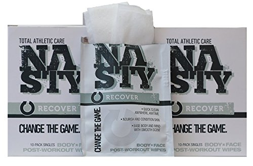 NASTY Face and Body Wipes, Best for Post Gym Workout, Extra Large, Individually Wrapped (20 Pack)