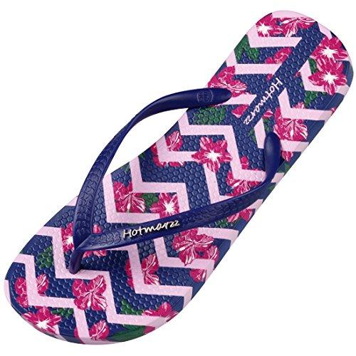 Hotmarzz Women's Flower Pattern Summer Beach Slippers Tong Sandals Flat Slides Size 8 B(M) US/39 EU/40 CN, Purple Flower by Hotmarzz