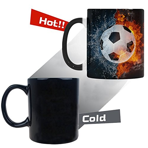 InterestPrint Sport Soccer Ball in Fire and Water Color Changing Coffee Mug Heat Sensitive Morphing Mug Tea Cup Funny Gift for Women Men Kids Mom Dad Friends, 11 Ounce