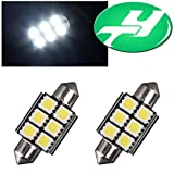"YINTATECH 2 X White 6-SMD-5050 1.50"" 39mm 6418 C5W Canbus LED Bulbs, Error Free Fit For Audi BMW Mercedes Porsche VW License Plate Lights"