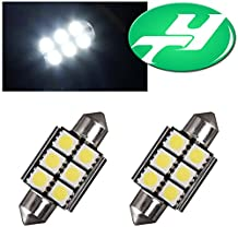 "YINTATECH White 6-SMD-5050 1.50"" 39mm 6418 C5W Canbus LED Bulbs, Error Free Fit For Audi BMW Mercedes Porsche VW License Plate Lights 2 Pack"