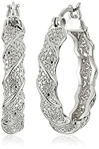 Rhodium Plated Bronze Diamond Accent and Illusion Hoop Earrings
