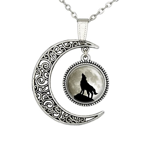 Wolf Moon Pictures (Full Moon Wolf Necklace Personalized Picture Art Wolf Pendant Jewelry Best Friend Christmas Gift)