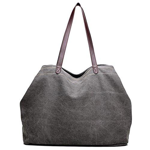 (Sunwel Fashion Woman 3 Compartments Multi-pockets Large Space Canvas Tote Roomy Shoulder Handbag Laptop Business Office Bag, 8 Colors)