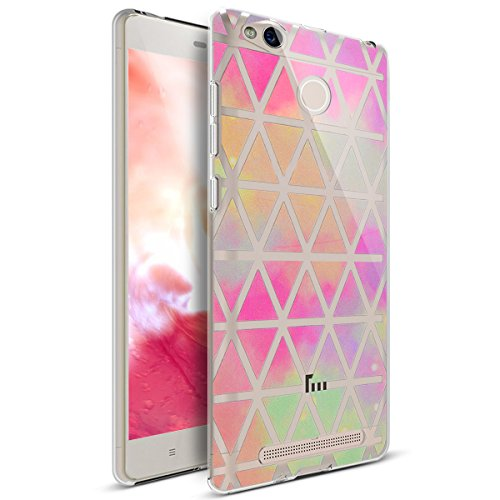 Price comparison product image Xiaomi Redmi 4X Case, Xiaomi Redmi 4X Cover, ikasus Art Painted Mandala Flowers Crystal Clear Slim Flexible Soft Rubber Gel TPU Protective Bumper Case Cover for Xiaomi Redmi 4X, Gradient Pink Rhombus