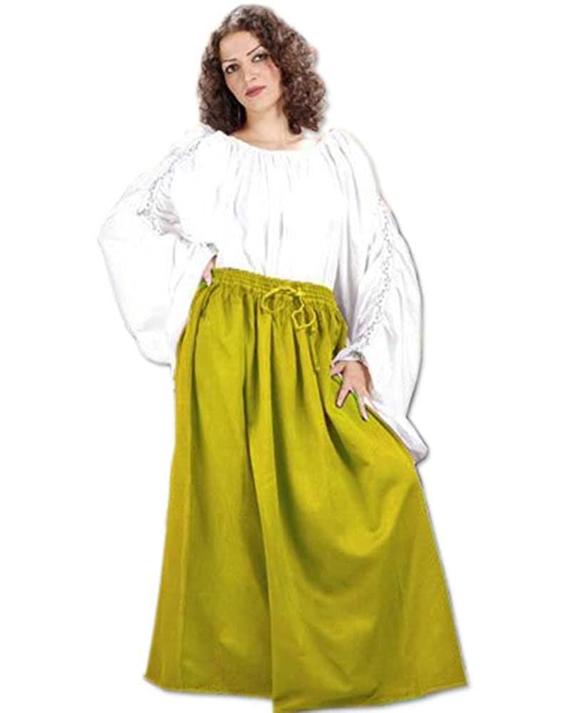 Women's Classic Renaissance Medieval Gold Cotton Wench Skirt by ThePirateDressing - DeluxeAdultCostumes.com