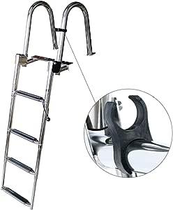 Escalera telescópica Pontón/Barco/Yate/Muelle/Piscina De 4 Escalones, Escalón De Natación Plegable De Acero Inoxidable para Servicio Pesado con Escalón Extra Ancho: Amazon.es: Hogar