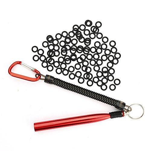 HILLPOW Wacky Worm Kits, Wacky Rig Tool & 110 pcs Wacky Rig O-Rings for Fishing (Wacky rig tool red &O rings)