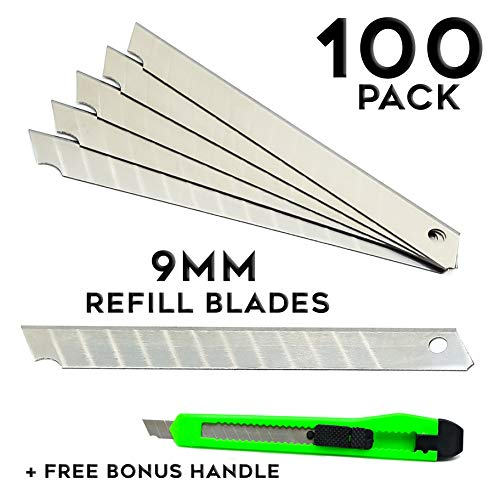 Fixson Box Cutter Utility Knife 9-mm Snap-Off Replacement Blades (100 Pack Replacement Blades) with 1 Retractable Razor Blade Included - Snap Off Blade Utility Knife