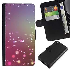 KLONGSHOP // Tirón de la caja Cartera de cuero con ranuras para tarjetas - estrella brillante ilumina el sol brillante de color púrpura - Sony Xperia Z3 D6603 //