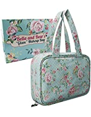 Bella and Bear - Makeup Bag With Pretty Floral Print - Waterproof Toiletry Case For Cosmetics - Travel Organiser - Multiple Compartments, Handles & Hanging Hook In A Beautiful Gift Ready Box