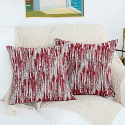 HOME BRILLIANT Throw Pillows Decorative Abstract Textured Square Pillowcases for Modern Farmhouse Striped Cushion Covers, Set of 2, 18 x 18 inch, Red