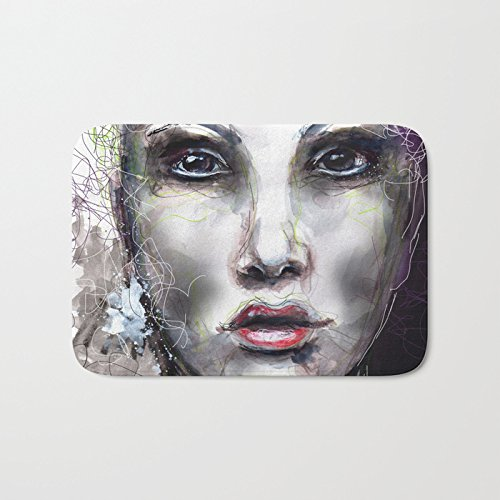 AfagaS Visage V Face Red Lips Beauty Messy Wool Yarn Rectangle Front Welcome Door Mat Large Outdoor Indoor Entrance Doormat Durable Heat-resisting Non-slip Rug Size 23.6x15.7 Inches Polyester Face Yarn