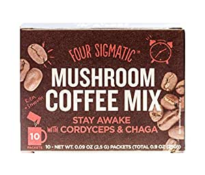 Four Sigmatic Mushroom Coffee with Cordyceps & Chaga, No Jitters, No Crashes, Adrenal Support, Vegan, Paleo, Gluten Free, 0.09 Ounce (10 Count)