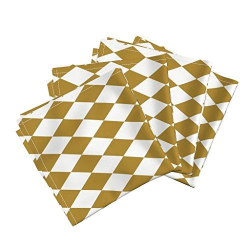 Roostery Harlequin Diamonds Linen Cotton Dinner Napkins Diamonds Golden Diamonds Gold Squares Mustard Mustard Diamonds by Sunny Afternoon Set of 4 Dinner Napkins