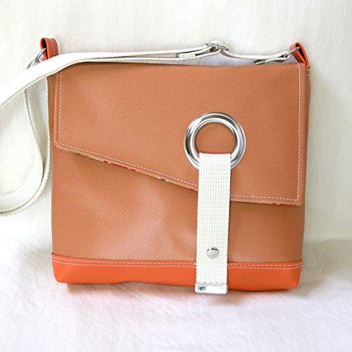 Stella Crossbody Messenger Bag, Faux Leather Messenger in Shimmering Pumpkin Orange by Zaum