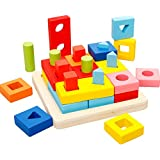 Agirlgle Wooden Educational Learning Toys Shape Color Sorter Recognition Geometric Board Block Puzzles Toys Preschool Stacking Block Toddler Toys for Age 3 4 5 Years Old and Up Kid Children Baby