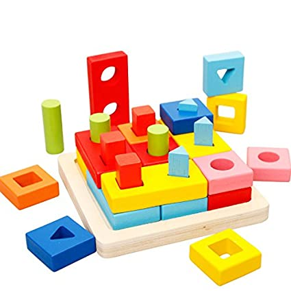 f51181facd06 Agirlgle Wooden Educational Learning Toys Shape Color Sorter Recognition  Geometric Board Block Puzzles Toys Preschool Stacking