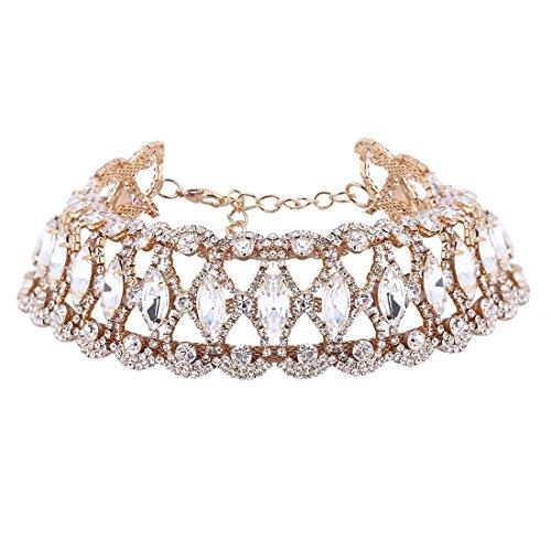 Sujarfla Women Luxury Rhinestone Wide Choker Necklace (glod)