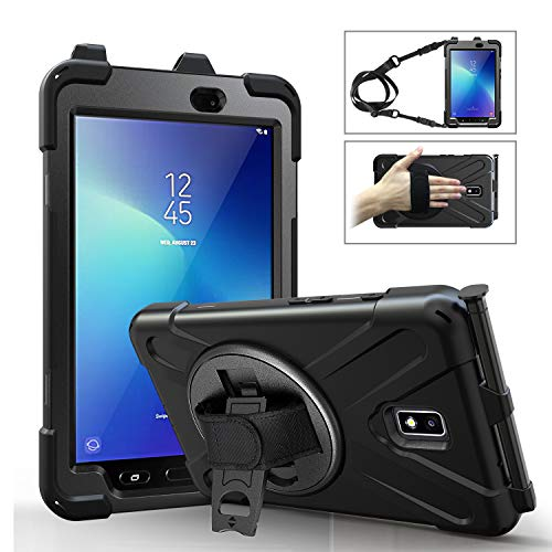 "MoKo Case Fit Samsung Galaxy Tab Active 2 8.0, Heavy Duty Shockproof Full-Body Rugged 360 Degree Rotating with Shoulder Strap Stand Cover for Galaxy Tab Active 2 8"" SM-T390/T395/T397 Tablet - Black"