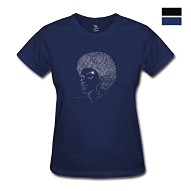 c301ecf6 Amazon.com: Melanin Afro American Girl Rhinestone Transfers Cotton Crew  Neck T Shirt for Women (Small, Navy#Afro Diva): Clothing