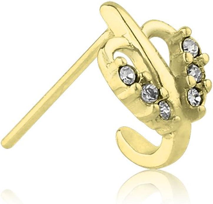 Choose Your Style 925 Sterling Silver Nose Hugger Stud Ring Leaf CZ