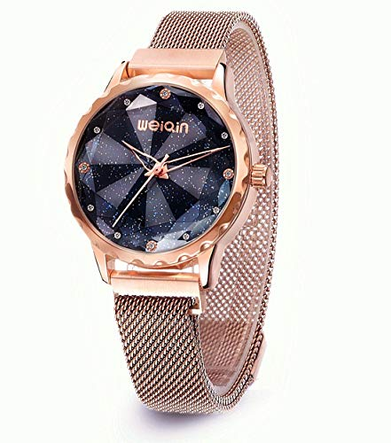 - Fashion Women's Watch,Rose Gold Ladies Watches,Starry Sky Watch Gift,Mesh Band Womens Bangle Cuff Wrist Watch