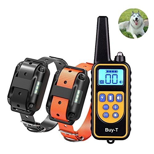 Buy-T Rechargeable Electronic Dog Training Collar 2600ft Range Remote Control 100% IPX7 Waterproof Dog Training Collars Beep, Vibration Shock Puppy Dogs(Two Collar Receivers) -