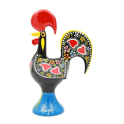 Ibergift Traditional Portuguese Aluminum Rooster Galo de Barcelos N.9 8 1 4 Inch Tall Black