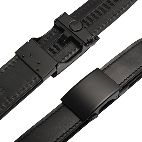 RGB [Micro Adjustable] The Original Ratchet Gun Belt for Concealed Carry CCW Handmade with Italian Full Grain Leather Reinforced Up to 48 inch Black Leather Black Stitching Black Buckle