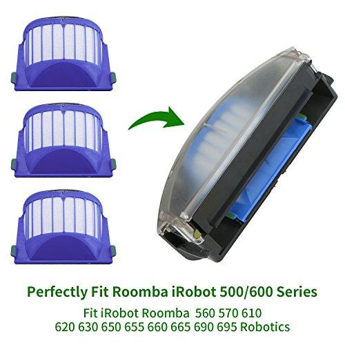 10 Pcs Aero Vac Filters For Irobot 500/600 Series,Roomba 500/600 Series  Filters For Irobot 536 550 551 614 620 630 650 655 660 665 680 690 Robotic