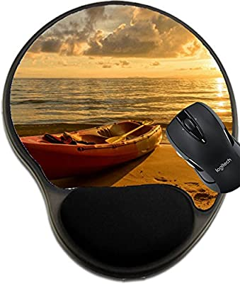 MSD Natural Rubber Mousepad wrist protected Mouse Pads/Mat with wrist support design: 37671345 Kayak on a beach at sunset