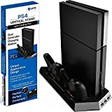 Ortz PS4 Vertical Stand with Cooling Fan [Dual Charger Ports] Premium Quality Controller Charging Station for PlayStation 4 Dualshock Charger [Not for Slim PS4] by Ortz
