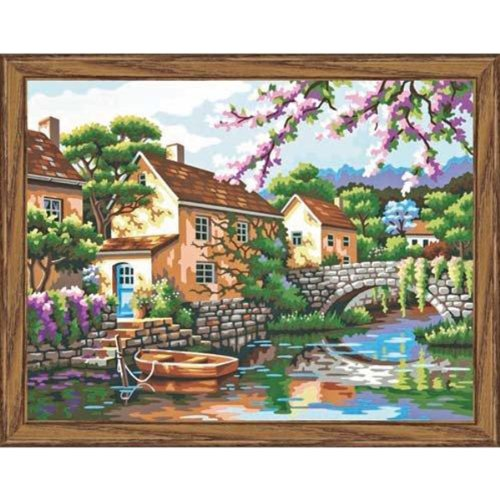 (Dimensions Paint by Number Craft Kit, Village Canal )