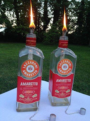 tiki-torch-lazzaroni-amaretto-bottle-tiki-torch-oil-lamp-one-or-two-outdoor-lighting-garden-decor-ba
