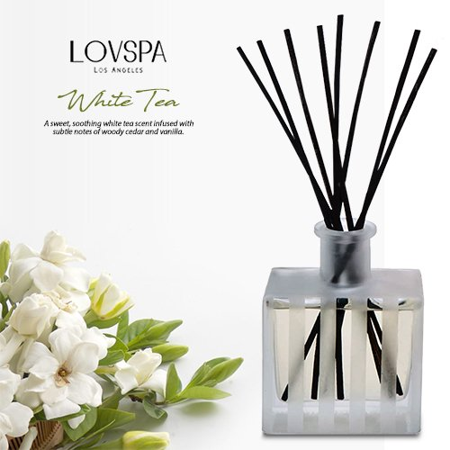 LOVSPA White Tea Reed Diffuser - Scented Sticks Set - Soothing White Tea Scent Infused with Notes of Woody Cedar and Vanilla - Air Freshener for Large Rooms - Made in The USA by LOVSPA (Image #2)