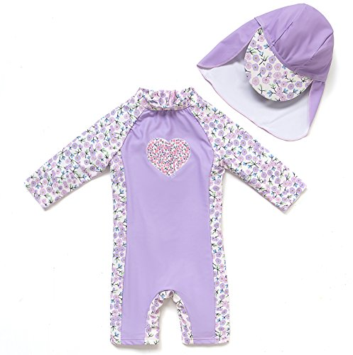 - Bonverano(TM Kids UPF 50+ Sun Protection S/S One Piece Zip Sun Suit with Sun Hat (12-18 Months, Lavender)