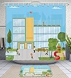 Unique Custom Bathroom 2-Piece Set School Kids Uniform Background Shower Curtains And Bath Mats Set, 66''Wx72''H & 23''Wx16''H