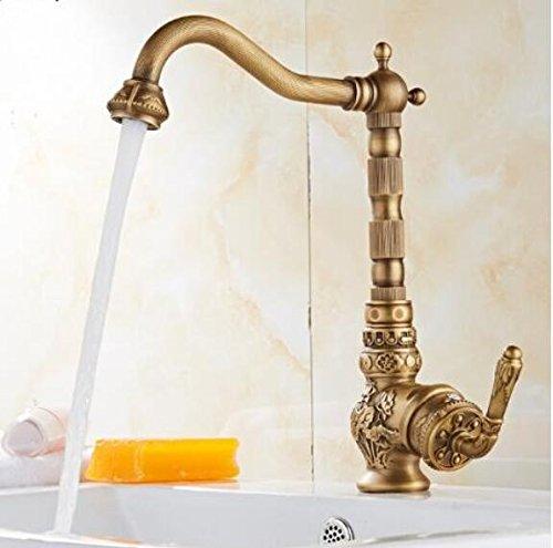 Makej Fashion Hot & Cold Waschbecken Wasserhahn Europa Stil Total Messing Bronze Fertig Geschnitzten Küche Wasserhahn Schwenkbar Küche Mischbatterie Waschbecken Tippen