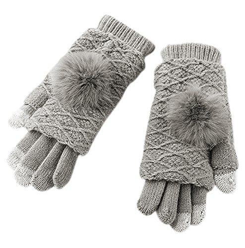 Urban Coco Womens Winter Warm Knit Touchscreen Gloves Versatile Outdoor Gloves  Light Grey
