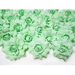 "(100) Silk Light Green Roses Flower Head - 1.75"" - Artificial Flowers Heads Fabric Floral Supplies Wholesale Lot for Wedding Flowers Accessories Make Bridal Hair Clips Headbands Dress 24"