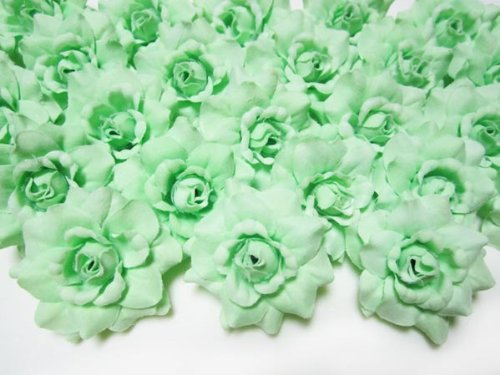 100-Silk-Light-Green-Roses-Flower-Head-175-Artificial-Flowers-Heads-Fabric-Floral-Supplies-Wholesale-Lot-for-Wedding-Flowers-Accessories-Make-Bridal-Hair-Clips-Headbands-Dress