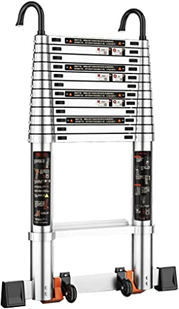 Qi Tai Escalera telescópica con Gancho Escalera Recta Elevación portátil Escalera de Aluminio Carga 150 kg / 330 LB for construcción de ingeniería en Interiores y Exteriores Escalera telescópica: Amazon.es: Hogar