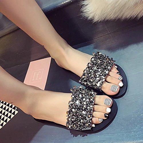 Été avec 36 Silver des XING Plat Nouveau Pantoufles Coréen Plat Et des Silver Sandales Toe Femme Strass GUANG Clip 39 Pantoufle UUztf